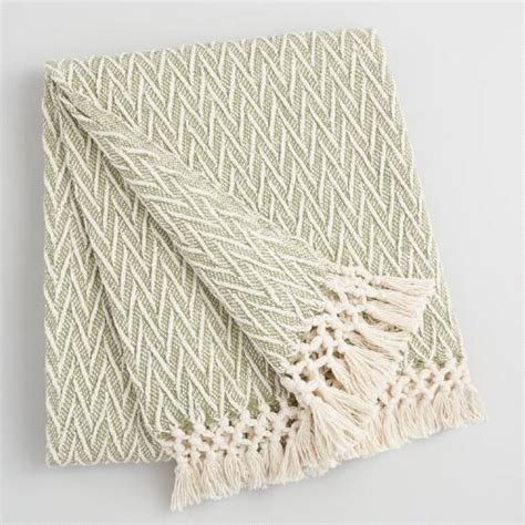 Green Blankets And Throws by Green And Ivory Woven Throw With Fringe World Market