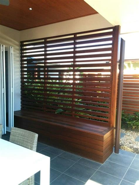 outdoor patio area   extended wooden slatted roof