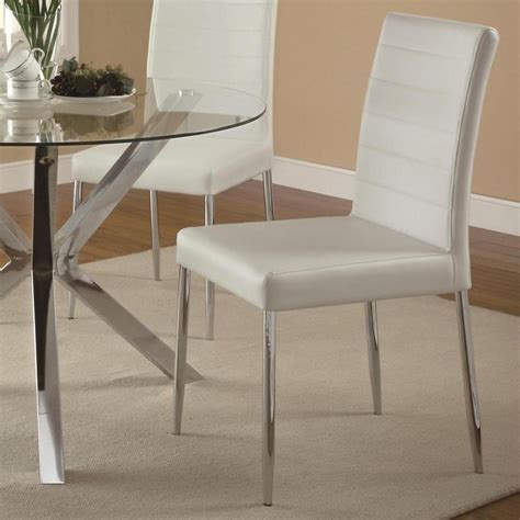 White Vinyl Dining Chairs Vance Contemporary White Vinyl Dining Side Chair By Coaster 120767wht Set Of 4 Ebay