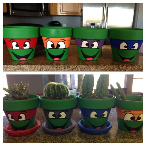 paint projects on pinterest painted flower pots flower pot art ninja turtles diy for life