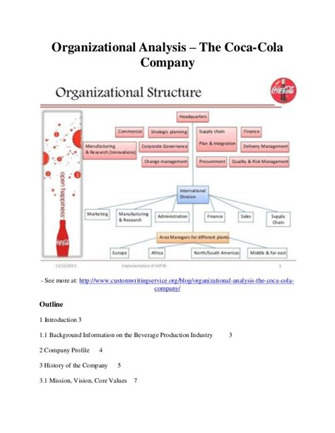 Organizational Analysis The Coca Cola Company Organisational Structure Of Coca Cola