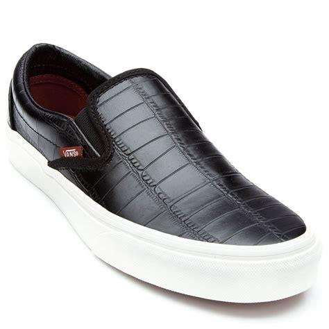 vans classic slip on croc leather shoes black