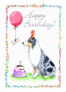 greeting cards for australian shepherd blue merle birthday card