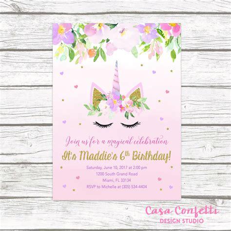 printable unicorn birthday invitations unicorn invitation unicorn birthday invitation girl 1st