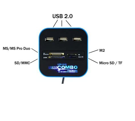 Nyk Card Reader 6 Slot Usb 30 Murah combo multi card reader 3 usb hub 2 0 splitter black jakartanotebook