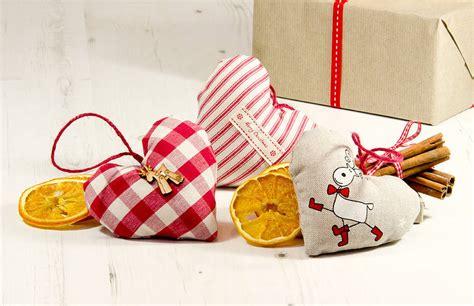 Handmade Hearts - handmade festive hanging hearts by elm tree studio