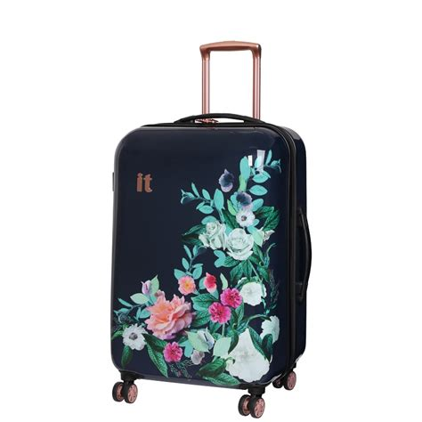 printed suitcase 69cm rose floral luggage bampm