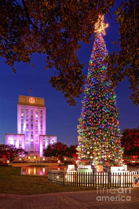 downtown houston christmas tree and city hall at twilight