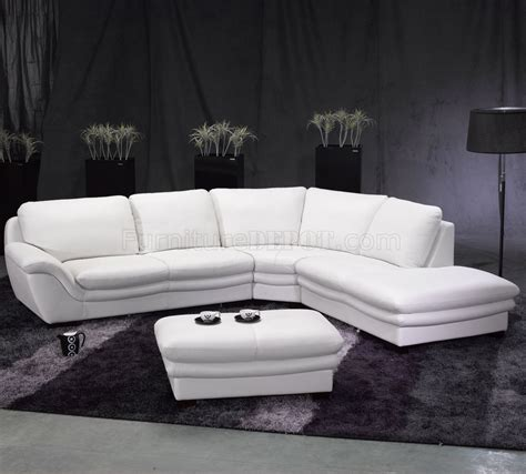white leather contemporary sectional sofa w ottoman