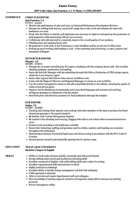 resume format for sub editor sub editor resume sles velvet