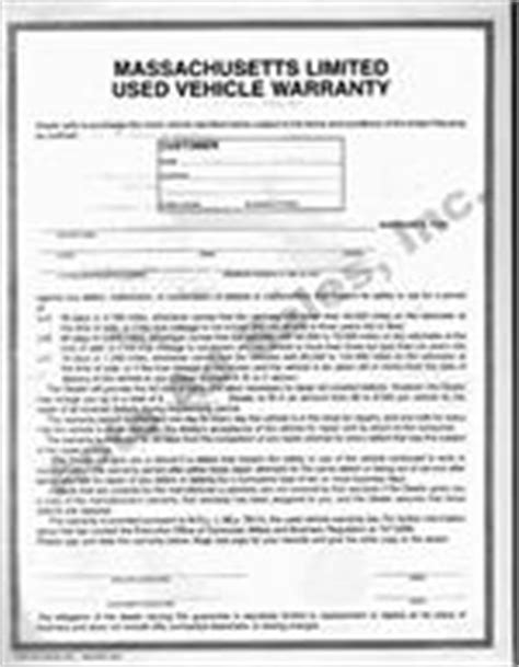 used car warranty template massachusetts motor vehicle purchase contract