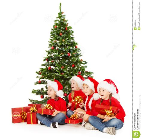 child and petprof xmas tree in santa hat tree open present gift box stock photography