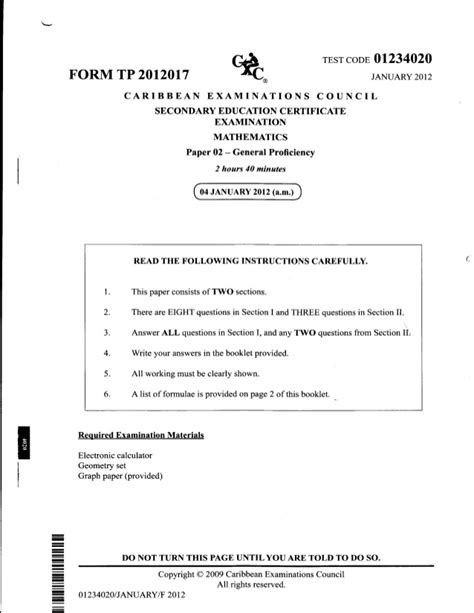 Csec Mathematics January 2012 Past Paper