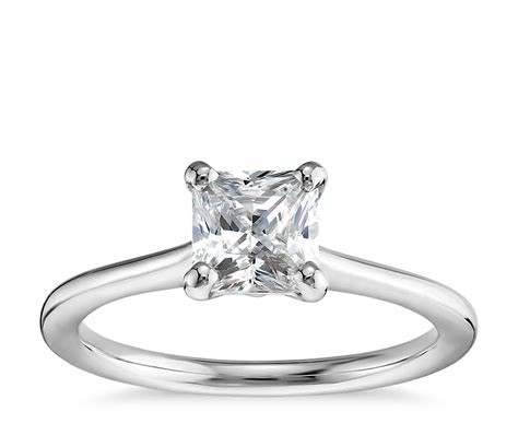 1 carat preset princess cut solitaire engagement