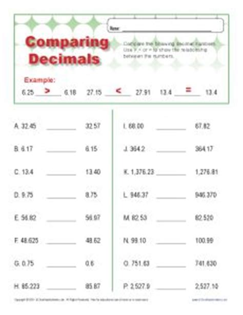 Decimal Place Value Worksheets 6th Grade by Comparing Decimals Worksheet Compare These Thousandths
