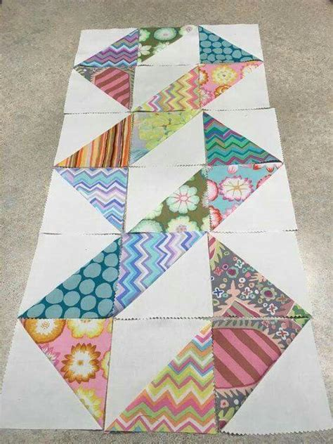 Patchwork Square Patterns - rectangle half square quilt as you go