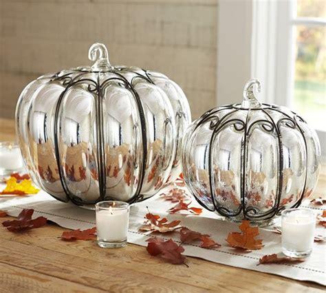 Glass Pumpkin Decorations by Mercury Glass Wire Pumpkins
