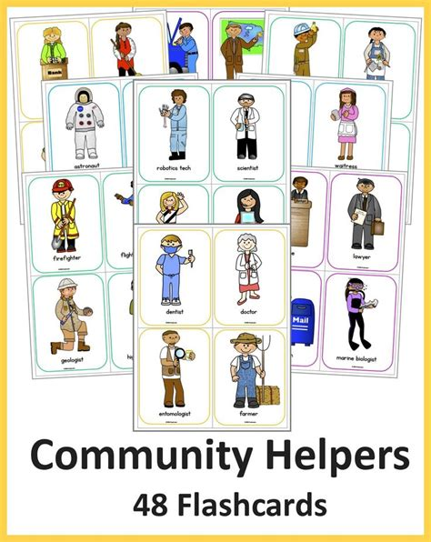 one helpers 48 colorful and labeled community helper flashcards all