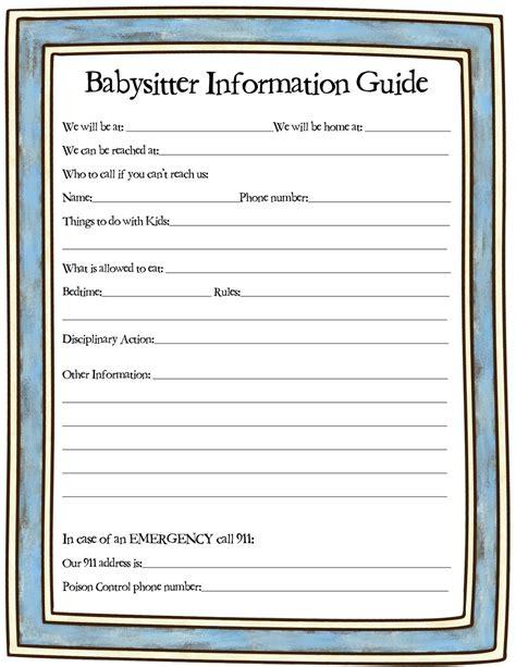babysitter info sheet weheartfreebies