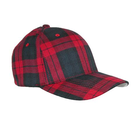mens cotton tartan plaid stretch fit baseball hat by