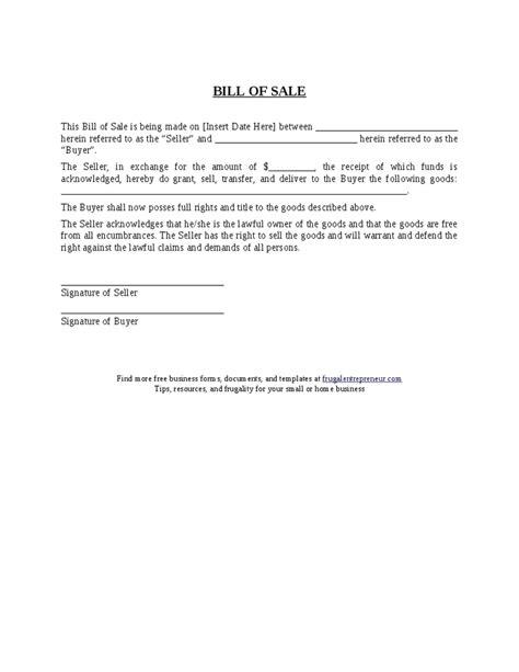 motorcycle bill of sale
