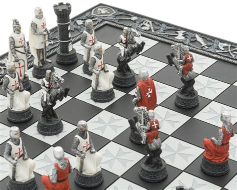knights templar crusade hand painted themed chess set