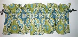 Blue And Green Kitchen Curtains Modern Green Blue Damask Valance For Kitchen Living Or