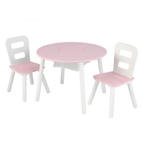 kid craft table and chairs table 2 chair set with storage pink white