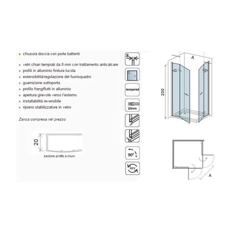 box doccia cristallo 8mm box doccia con due porte a battente cristallo 8 mm cod
