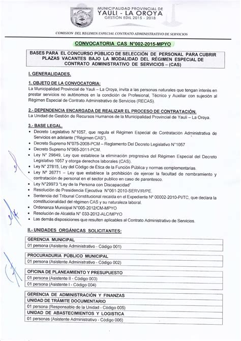 convocatoria cas municipalidad de jauja convocatoria cas n 176 002 2015 mpyo by municipalidad