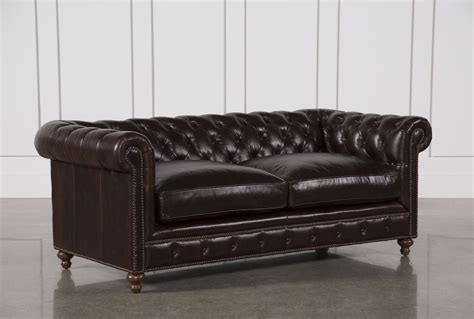 Living Spaces Leather Sofa Mansfield 86 Inch Cocoa Leather Sofa Living Spaces