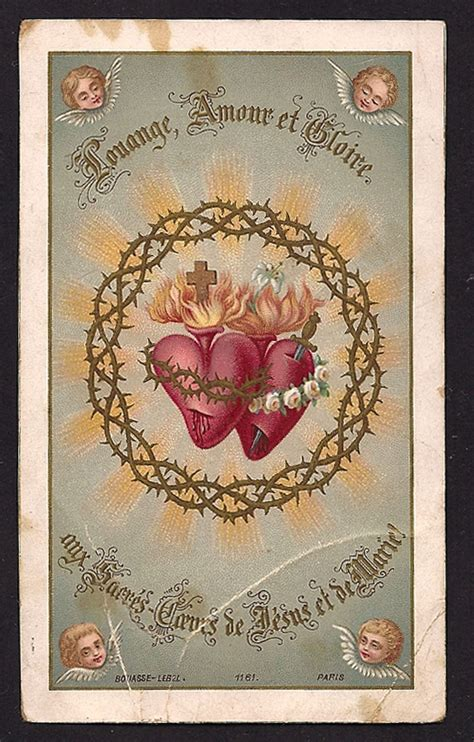 cards antique gorgeous antique holy card sacred hearts of by divinegiftshop