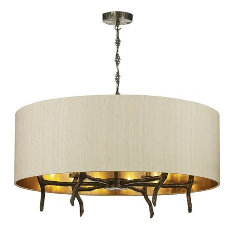 large taupe drum shade ceiling pendant light on bronze