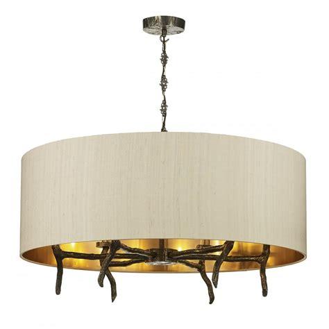 Driftwood Pendant Light Large Taupe Drum Shade Ceiling Pendant Light On Bronze Driftwood Frame