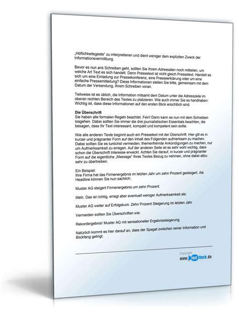 Vorlage Word Pressemitteilung Pressemitteilung Vorstellung Einer Neuen Dienstleistung Muster Zum