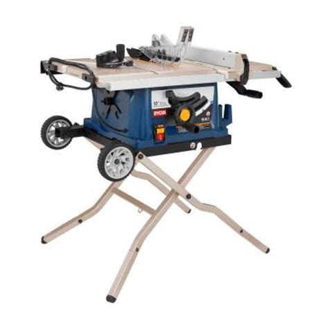 ryobi reconditioned 10 in table saw with wheel stand