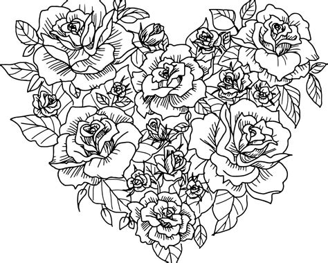 coloring pages for adults roses and hearts beautiful rose coloring pages best images free roses