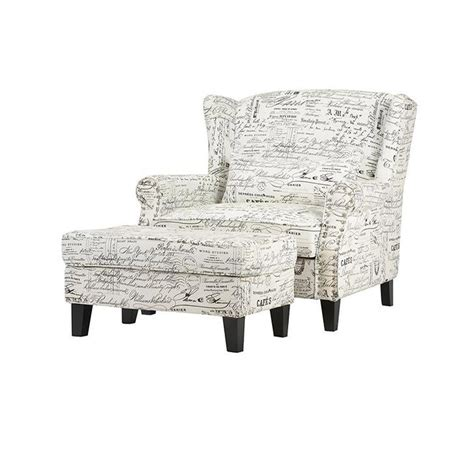white armchair with ottoman home decorators collection zoey script white polyester arm