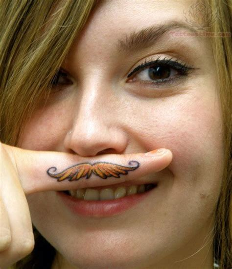 tattoo finger moustache color mustache tattoo on girl finger