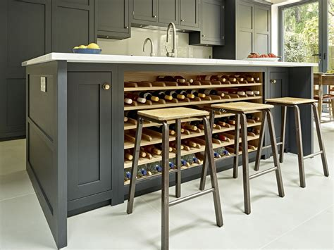 kitchen islands with wine racks grey black kitchen island design with integrated wine rack