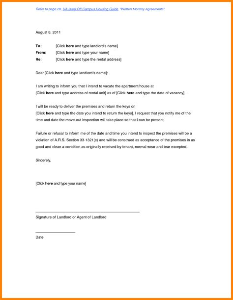 End Of Lease Letter To Tenant by 7 Rental Letter From Landlord Science Resume