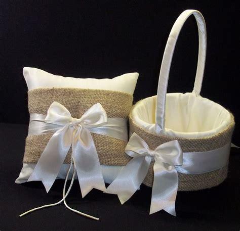 Burlap Wedding Pillows by Burlap Accent Wedding Ring Pillow Flower Basket