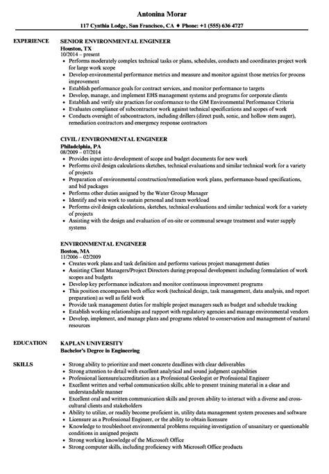 environmental engineer resume sles velvet