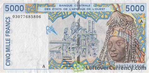francs banknote west african cfa