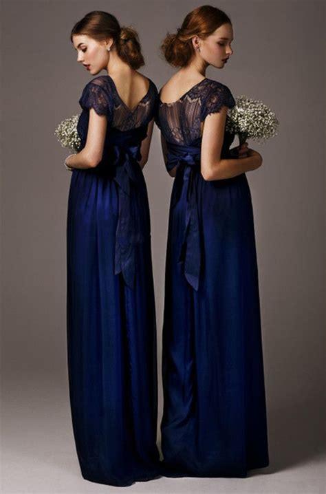 navy blue lace bridesmaid dress  sleevesshort sleeves