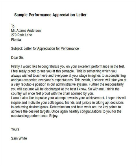 appreciation letter performance 19 appreciation letters in doc