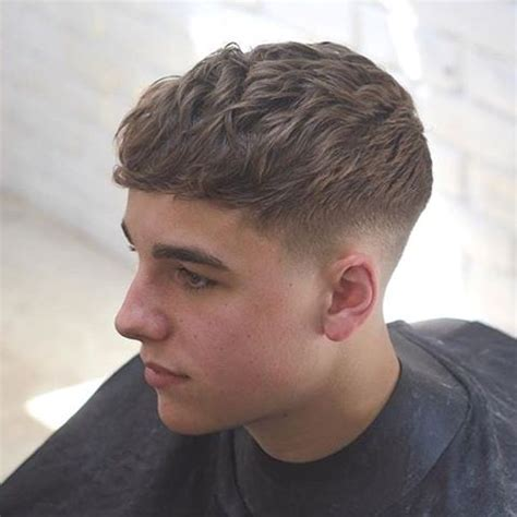 Men's Crew Cut with Medium Wavy Top Lengths and Tapered Sides