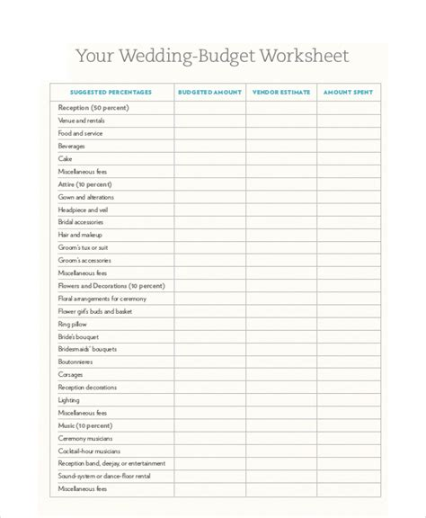 wedding budget free template free budget template 10 free pdf word excel
