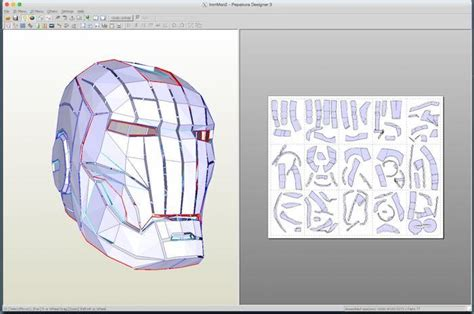 Iron Mask Papercraft - running pepakura designer on a mac to make papercraft