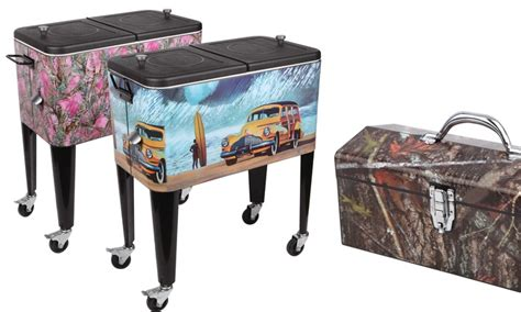 decorative 60qt patio cooler and matching toolbox groupon